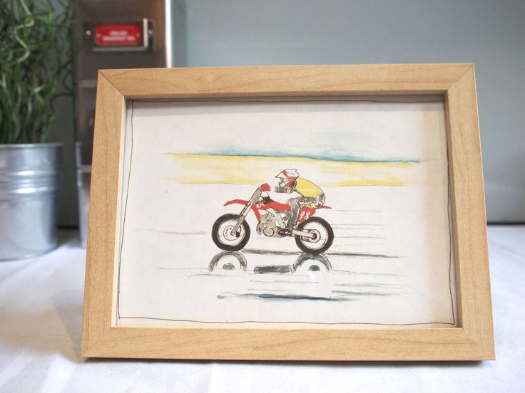 Dirt bike racing motorcycle Print | Motorbike Illustration - Print  | A5 150 x 210mm / 6 x 9in | Framed Motorcycle Art Print by DailyBikers on Etsy