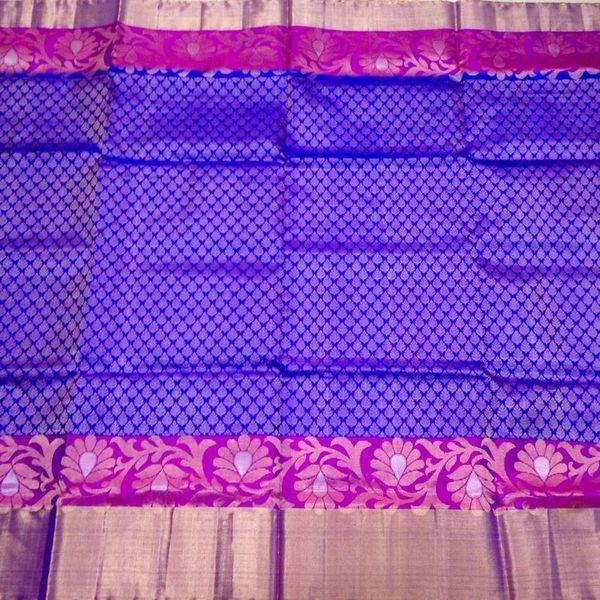 Buy KSS3500001-THAMBOORI's Handwoven Kanchivaram Silk-Brocade woven-Royal blue violet, 850g online - Handwoven Kanchivarams,Soft Silks, Silk Cottons and Tussars!
