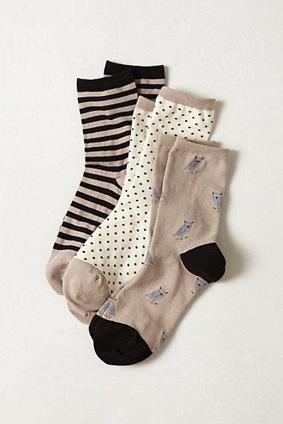 Tri-Pattern Sock Set (stripes, polka-dots, and owls!)
