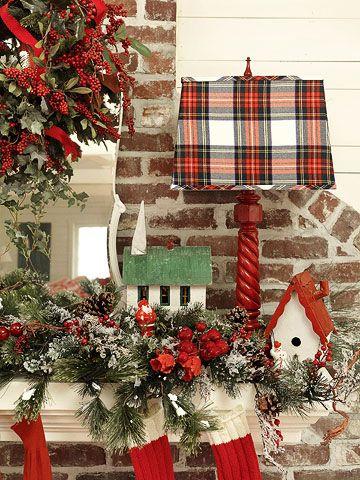 <3Plaid Christmas Decor, Christmas Colors, Tartan Plaid, Country Christmas, Christmas Tartan, Christmas Display, Christmas Ideas, Christmas Plaid, Christmas Mantels