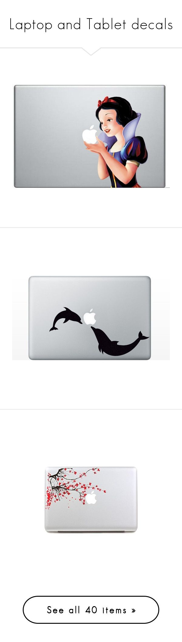 """Laptop and Tablet decals"" by directioner-123-ii ❤ liked on Polyvore featuring home, home decor, office accessories, laptops, wall art, movie wall art, dolphin wall art, window decals, window wall art and comic book wall art"