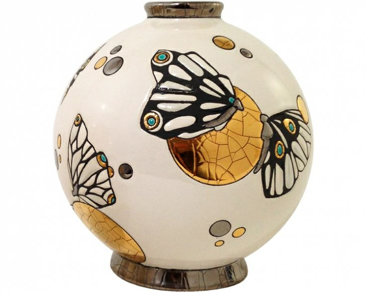 """Mrs Butterfly"" New collection by Clotilde D. & Emaux de Longwy Sphere vase…"