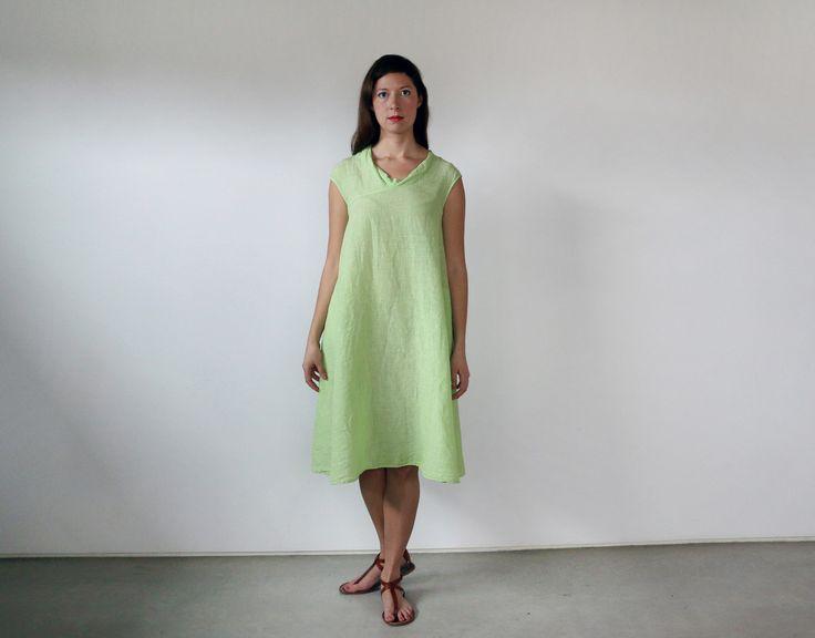 Manuelle Guibal linen mini tank dress Eri at LeslieJane. The honeydew colour is exclusive.