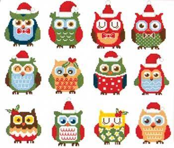 Hooties Christmas Owls Minis (cross stitch)