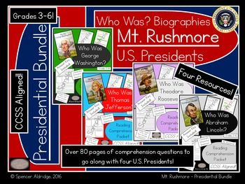 Save $3.00!! This is a bundle of four U.S. Presidents' reading comprehension packets. Each file in the zip is designed to go along with the following Who Was? presidents' biographies:Who Was George Washington?Who Was Thomas Jefferson?Who Was Theodore Roosevelt?Who Was Abraham Lincoln?Each packet in the zip contains the following:- Who Was? - book level information- Readability stats of student pages- Common Core State Standards- 9 student pages directly aligned to the biography- 9 answer…