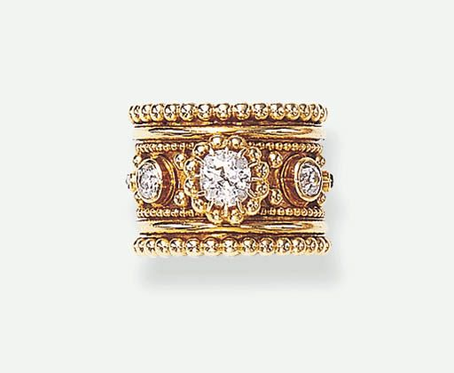 A DIAMOND AND GOLD RING, BY BOIVIN The wide band set with an old mine-cut diamond, to the central line of seven smaller rose and old mine-cut diamond collets, with gold beadwork accents and trim, mounted in 18k gold, circa 1950, size 4¾, with French assay mark and maker's mark With maker's mark for Daviére