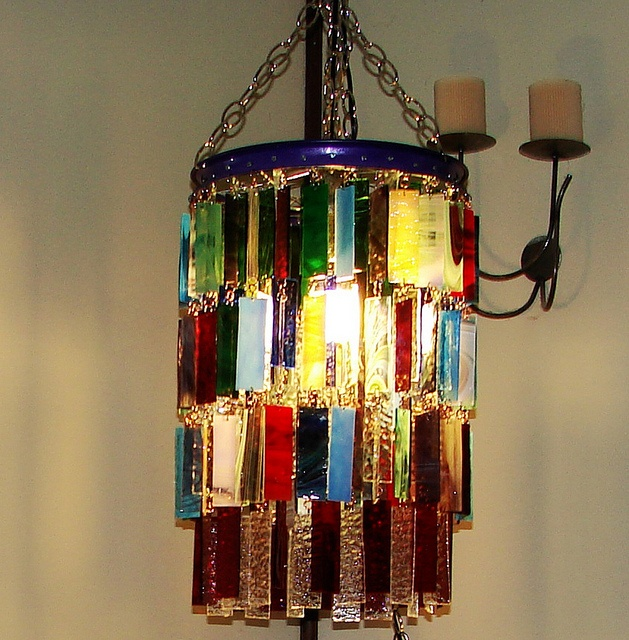 73 best chandelier images on pinterest chandeliers chandelier chandelier made from stained glass pieces would like it as a long rectangle over dining table aloadofball Image collections