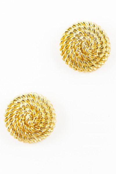 Vintage Monet Gold Earrings Rope   Nautical Earrings