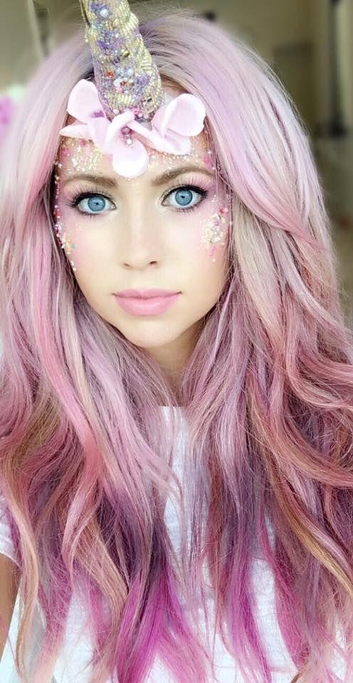 Unicorn Make-up, makeup, pink hair, purple hair, lilac hair, pastel hair, fantasy makeup, Halloween, magical, fantasy, festival