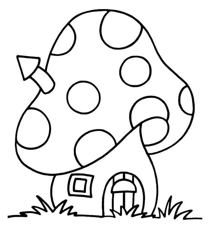 Easy Coloring Pages Mushroom House Easy Coloring Pages For Kids