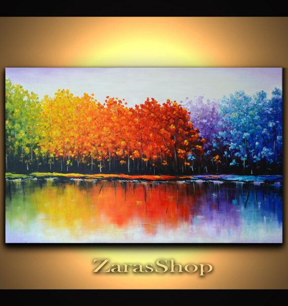 Original abstract large wall decor colorful trees painting on ready to hang 36 x 24 x 3/4 deep canvas will be ideal for the office meeting or