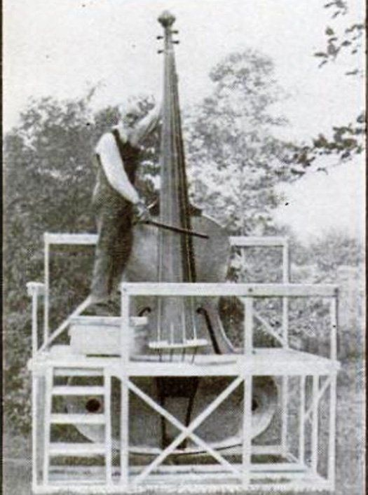 From the archives of Popular Science magazine, see nine of the strangest musical instruments ever, from the harpitar of 1918 to the musical typewriter of 1939. Each instrument is linked to the original magazine article about it. Shown here is a 14-foot tall fiddle, featured in a 1935 article. Link -via the Presurfer