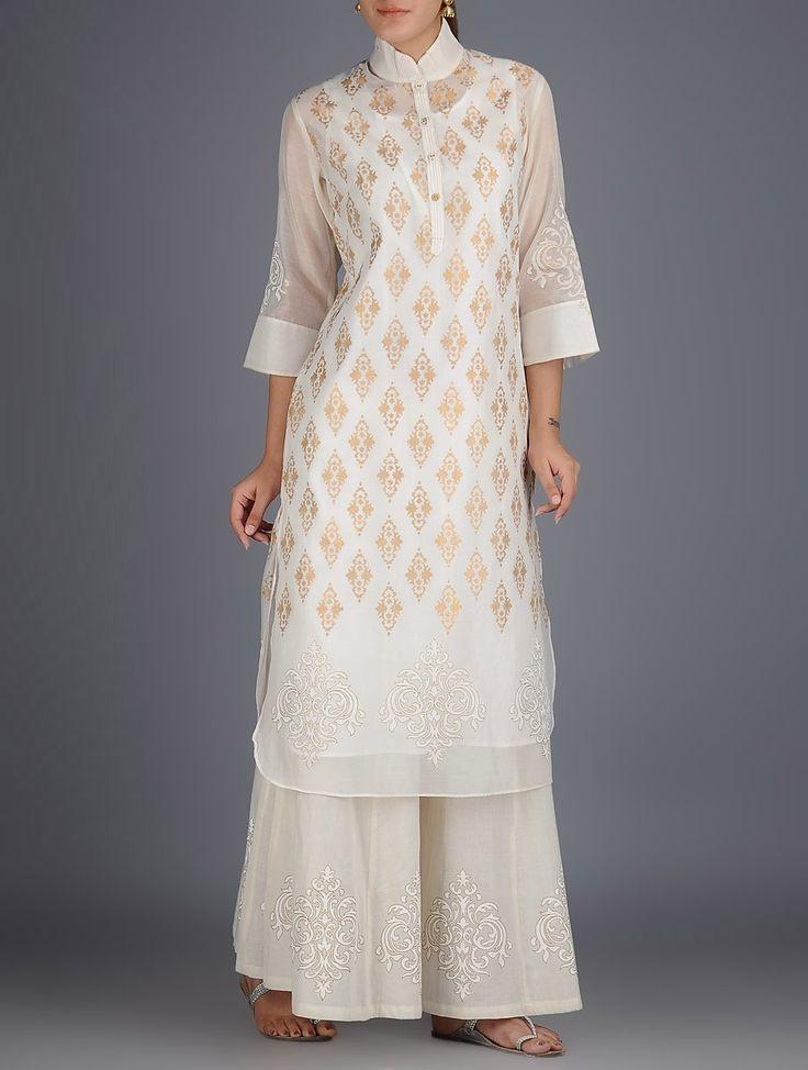 Buy Ivory-Golden Khari Block Printed with Stitch Detailed Chanderi Kurta with Lining Set of 2 Online at Jaypore.com