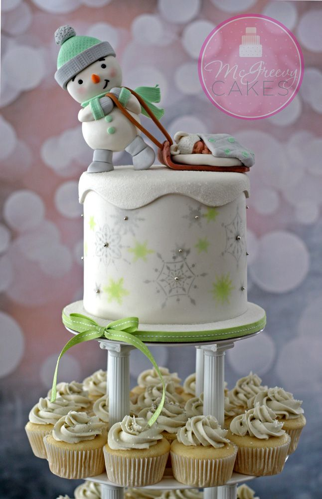 Special Occasion Cakes @ McGreevy Cakes  This is the way to go.  Cupcakes to get extra flavors and a single little cake on the top - minimal decorations, clean simple like Niki likes
