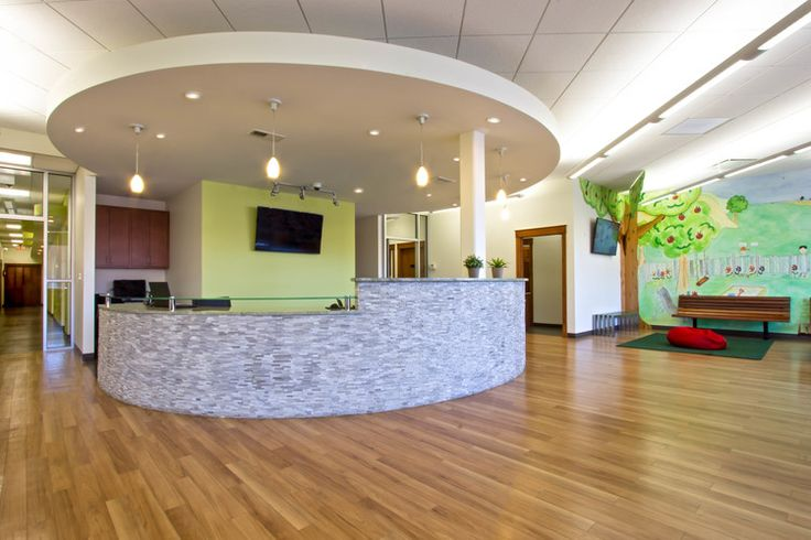 pediatric dental office reception area  office   green features including durable