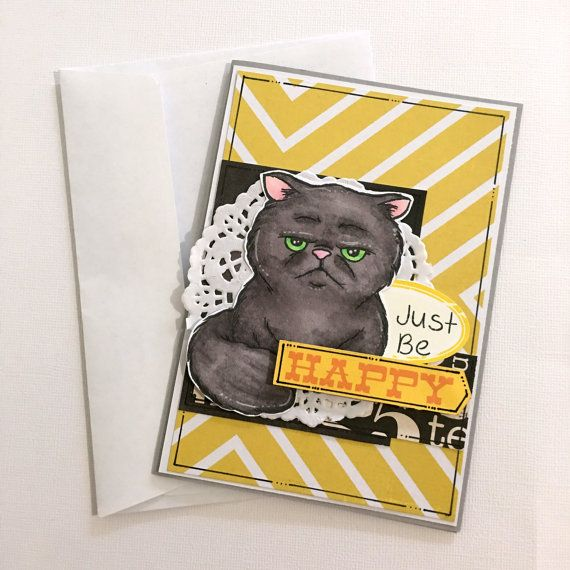 Cheer Up Card  Just Be Happy   Grumpy Cat  by JessideeHandmade