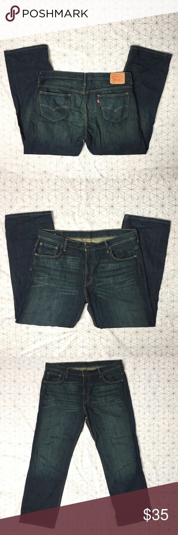 Levi's 569 dark was bootcut jeans - Size: 36 W 32 L - Material: 100% cotton - Condition: EUC - Color: dark wash - Pockets: Y - Lined: N - Closure: zipper and metal button  - Style: Levi's 569 - Extra notes: Levi's Jeans Bootcut