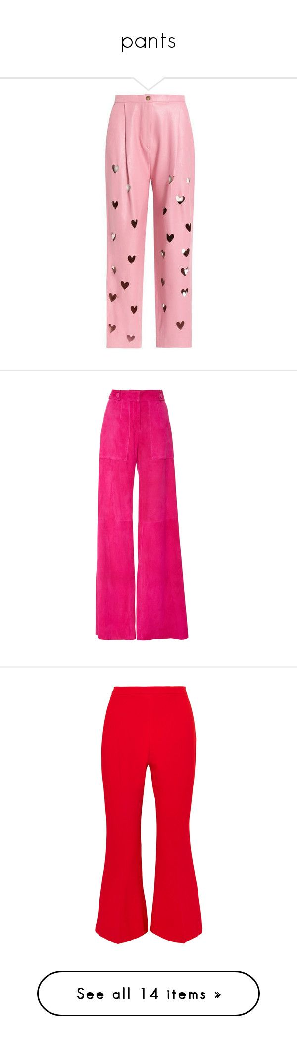 """""""pants"""" by marcellamic ❤ liked on Polyvore featuring pants, bottoms, trousers, red pants, red trousers, genuine leather pants, pleated pants, red leather trousers, high waisted suede pants and pink pants"""