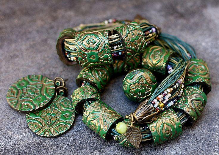 браслет, серьги, кольцо,колье из полимерной глины сокровище феи - тёмно-зелёный