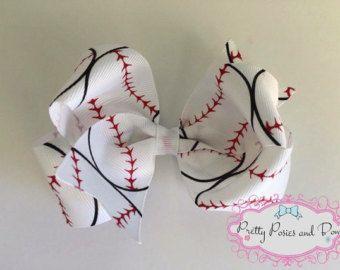 Baseball Hair Bow, Baseball Bow, Basebal Clip, 3 inch Baseball Hair Bow