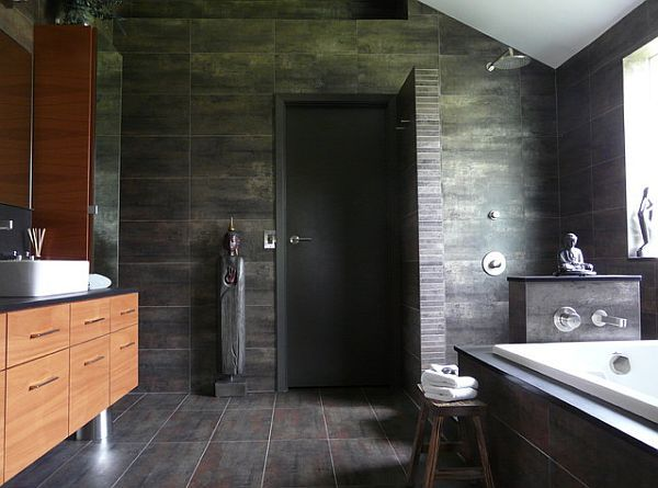 Oriental bathroom with doorless shower design
