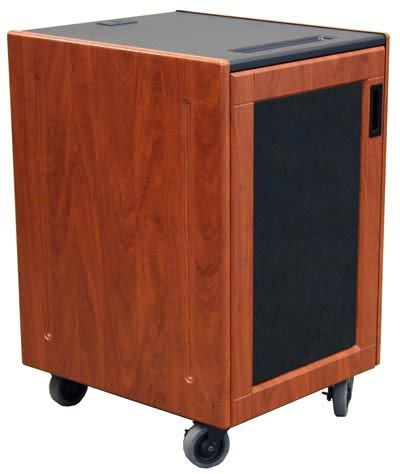 """The executive mobile rack model REX-16 is an executive series mobile storage unit designed for rack mountable audio and video equipment. It includes 16U rack rails for equipment up to 20"""" deep, framed front door with a tinted acrylic window and 4"""" casters for easy maneuverability. This unit is shipped fully assembled and is finished with a highly resistant black thermowrap top and your choice of thermowrap color."""
