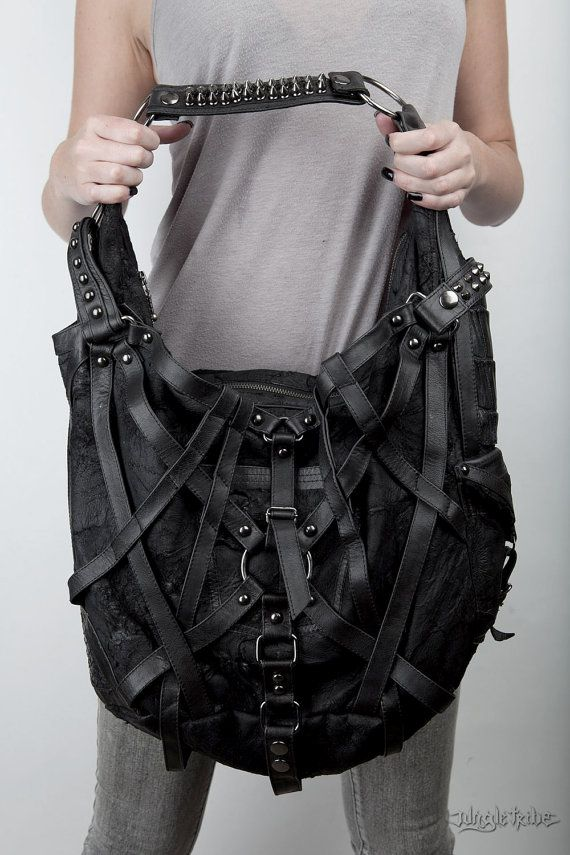 Rage Cage hobo bag by JungleTribe on Etsy ~Not your average. Crossed leather harnesses upgrade this hobo to bada$$.