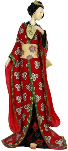 Features:  -Bright beautiful work of hand painted art.  -Holding hand painted fan and details on face, hair, hair pins and kimono.  -Wonderful, uniquely feminine home decor.  -Culturally interesting a