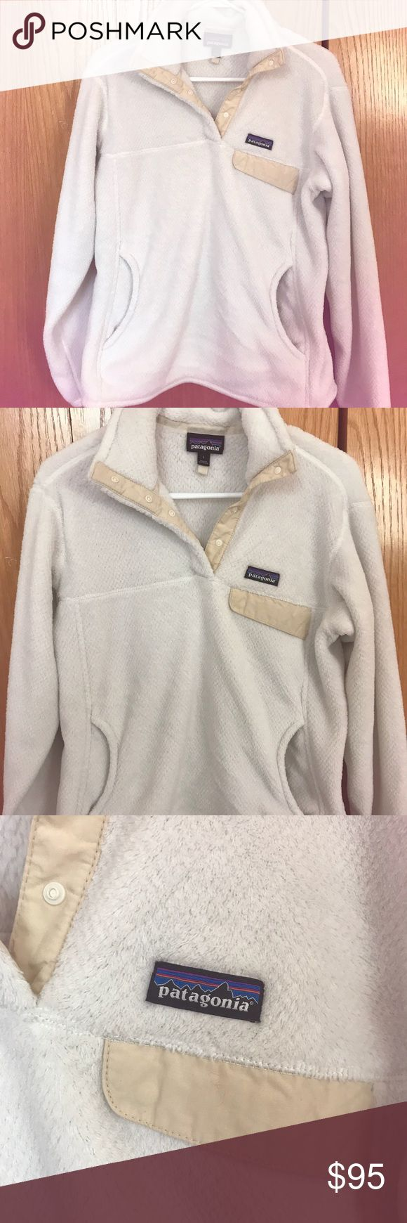 Patagonia Fleece Pullover Excellent condition women's fleece pullover. Worn twice. Beautiful white/cream color that never goes on sale! Patagonia Tops Sweatshirts & Hoodies