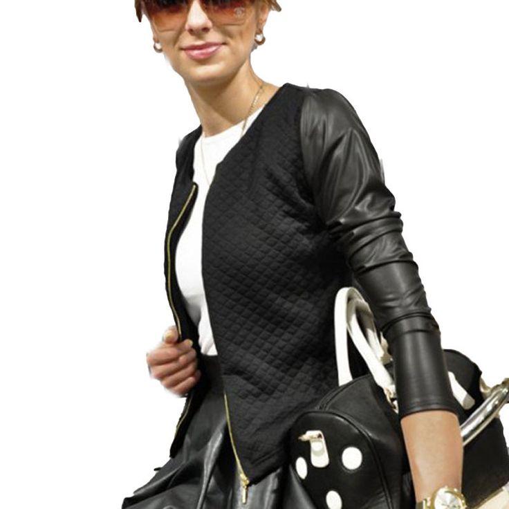 Pas cher mode femmes veste manteau 2015 automne manches longues patchwork noir faux cuir - Taille des rosiers automne ...