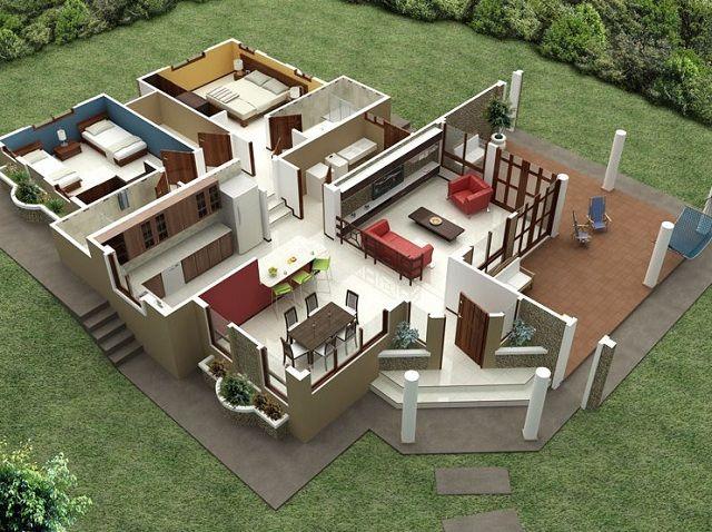 M s de 25 ideas incre bles sobre planos de casa en for Fachadas de casas campestres de un piso