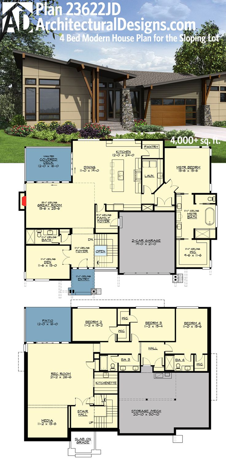 Perfect for your rear sloping lot: Architectural Designs House Plan 23622JD. Over 4,000 sq. ft. with the finished walkout basement. Ready when you are. Where do YOU want to build?