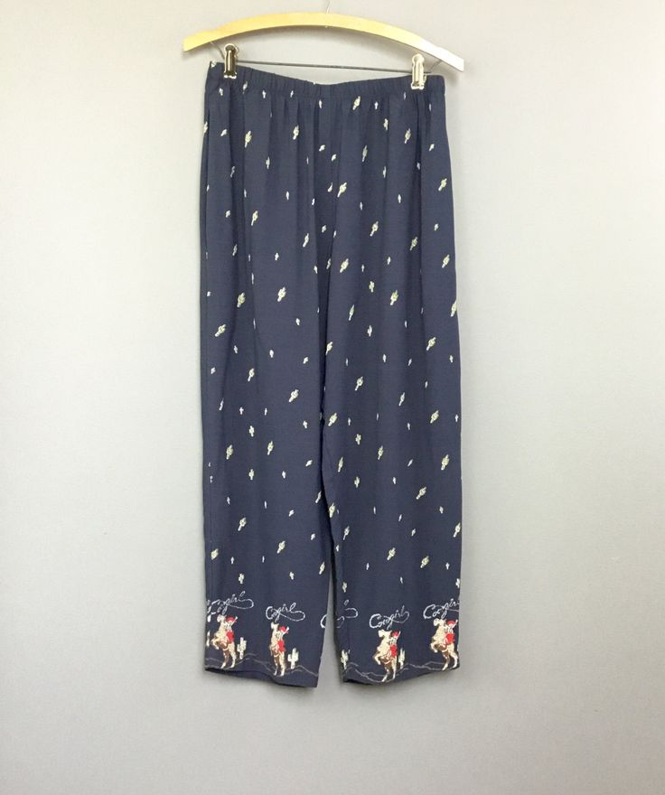 Cowgirl Lounge Pants Country Western Cowboy Style Made in USA Pajamas Navy Blue Cactus  & Horse Pattern Boho Southwestern Vintage by injoytreasures on Etsy