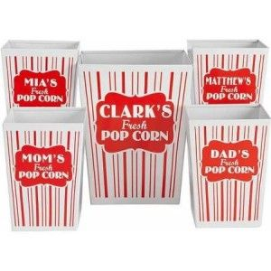 Personalized Movie Night Popcorn Bucket Set, Family