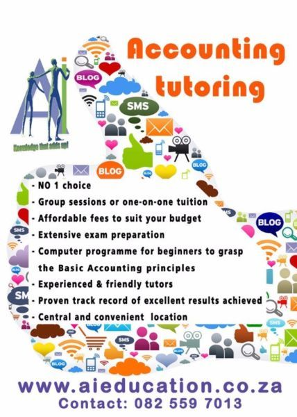 All undergraduate levels. Group tuition for 1st year students, otherwise mostly individual. We have more than 20 years experience in Accounting Education. You bring us our problems, wewill provide the solutions!Book your place now, spaces are limited. Please whatsapp Annelize on 082 559 7013 or visit www.aieducation.co.za