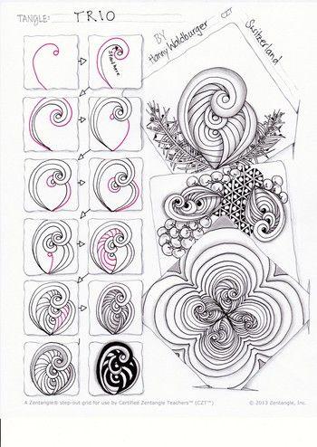 """""""Zentangle® ist eine Türe zu deiner Kreativität. Keine Kunst, keine Hexerei, kein abgehobenes Konzept, ganz einfach und simpel: Muster zeichnen ohne Farbe, nur schwarzer Faserschreiber auf einem kleinen Stück Papier und ein Bleistift zum Schattieren. Alles fängt an mit einem Punkt, einer Linie, einem Kreis, mehr braucht es nicht, um zu gestalten. Alle Formen setzen sich letztlich aus diesen wenigen Elementen zusammen."""""""