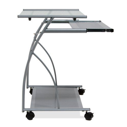 Calico Designs L Computer Cart - Silver/Clear Glass -  The Studio Designs L Computer Cart - Silver/Clear Glass is wonderful for updating your decor and improving your workspace. This computer cart...