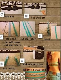 very easy way to turn and old bra into something cute with backless shirts