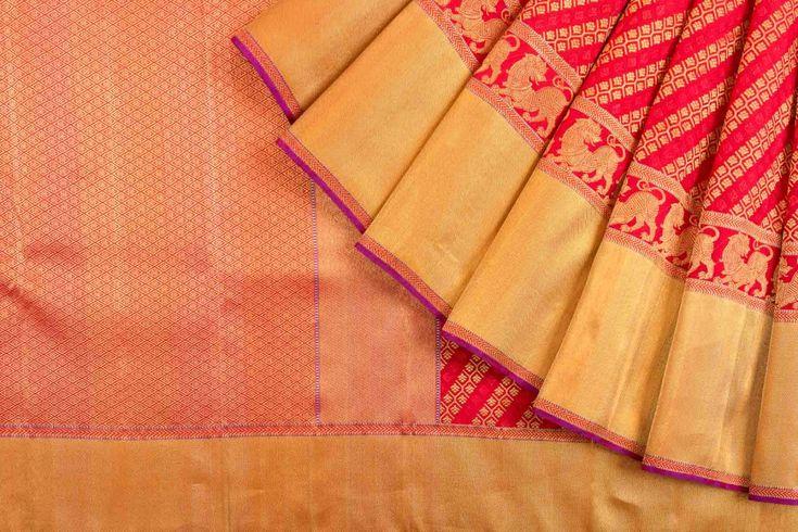 Kanchipuram Silk Brocade Red Saree
