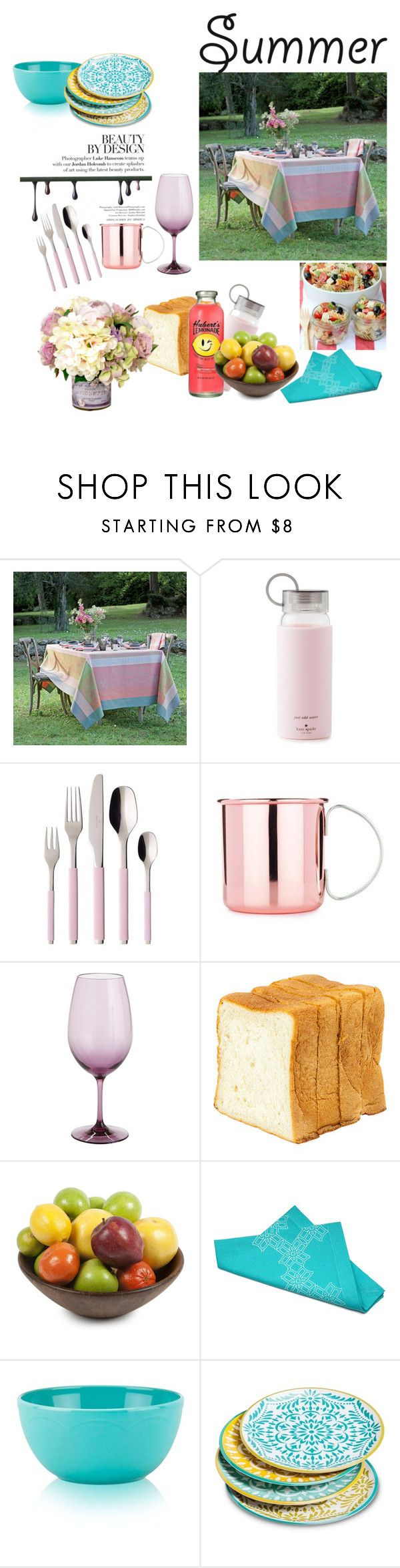 """""""summer dining"""" by zahrohusna on Polyvore featuring interior, interiors, interior design, home, home decor, interior decorating, Kate Spade, Villeroy & Boch, Pier 1 Imports and Dot & Bo"""