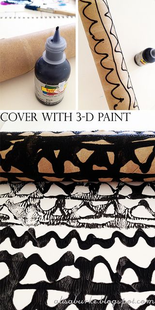 Tons of printing ideas using paper towel rolls--string, plastic wrap, bubble wrap, 3-D paint, etc.