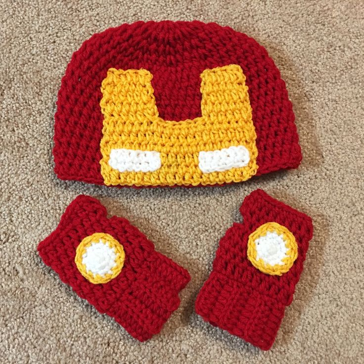 Iron man crochet set made by #kaytedids