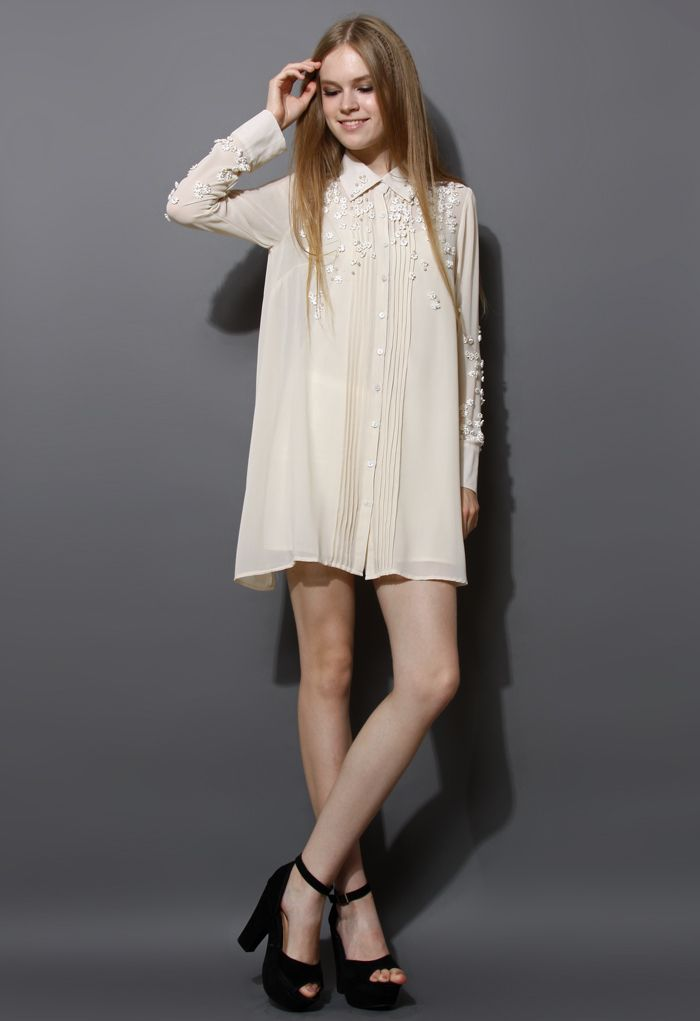 Pearl 3D Flower Embroidery Chiffon Shirt Dress
