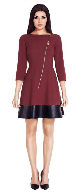 Beautiful bordo dress with eco leather and asimetric zipper