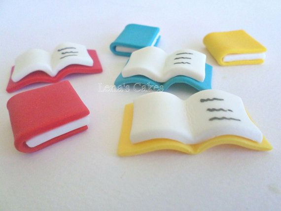 Fondant Edible 3D Books Design: 9 closed and 9 opened books in 3 colors. Quantity: 18 pieces ►Shelf life min 6 months. This beautiful edible ...