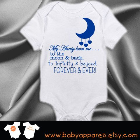 Aunt baby clothing Aunty loves you to the moon and by BabyApparels