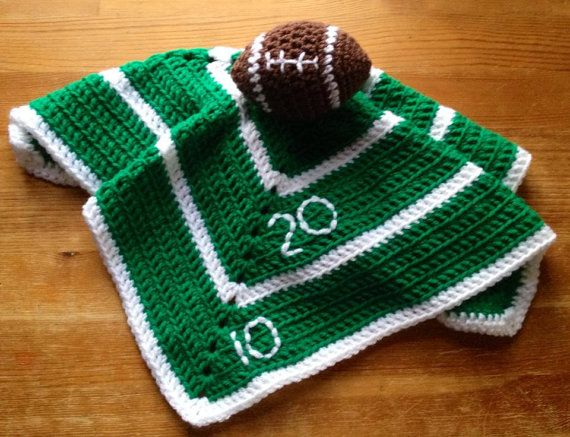Boy's Crochet Baby or Toddler Football Security Blanket, Lovey  Football blanket Baby gift on Etsy, $22.00 lovie