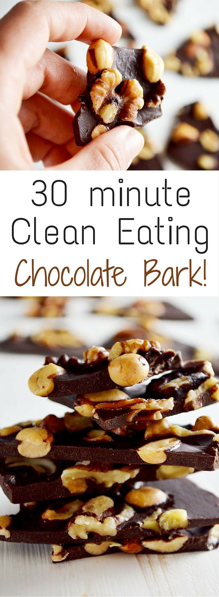 Perfect for all those New Year's resolutions! This clean eating chocolate bark is definitely taking care of my sweet tooth.