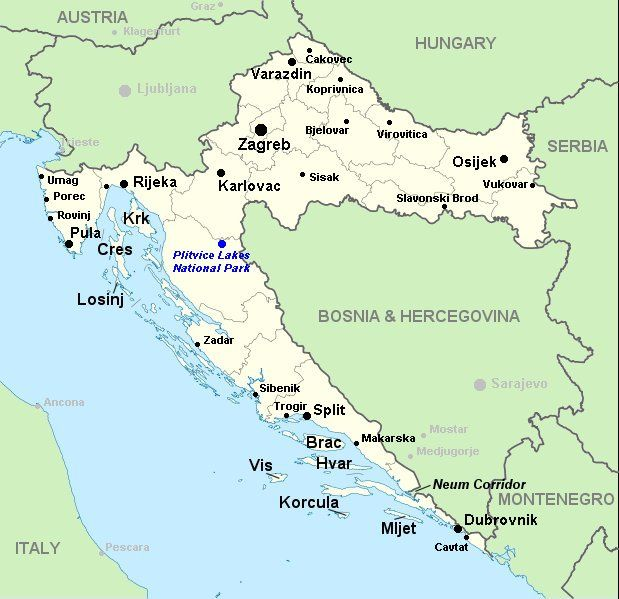 A map of Croatia showing the main towns, cities and places of interest in the country