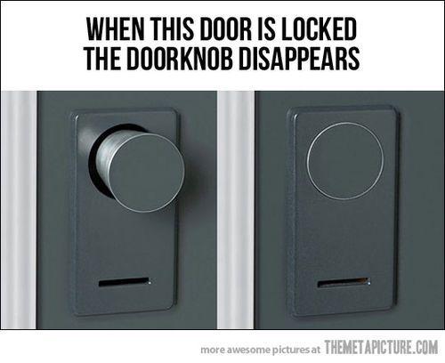 good idea!The Doors, Disappearing Doorknobs, Good Ideas, Awesome Doorknobs, Awesome House Ideas, Smart House Technology, Door Knobs, Awesome House Stuff, Zombie Apocalypse